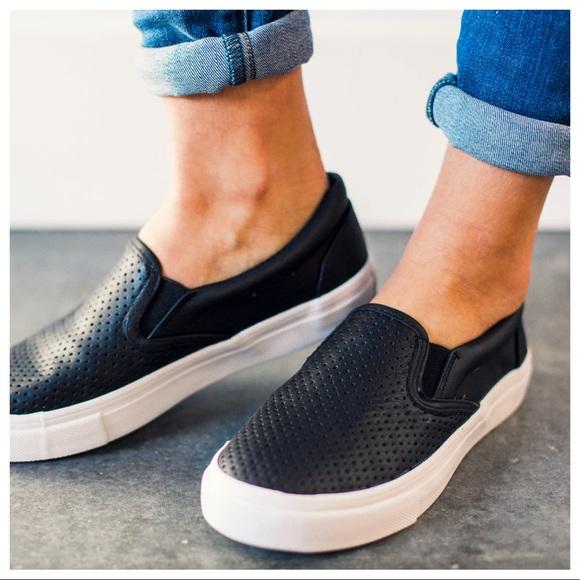 Shoes - Black Pinhole Sneakers